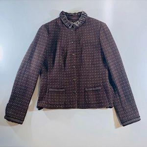 👻 Tahari Brown Tweed Velvet Collar Blazer Jacket